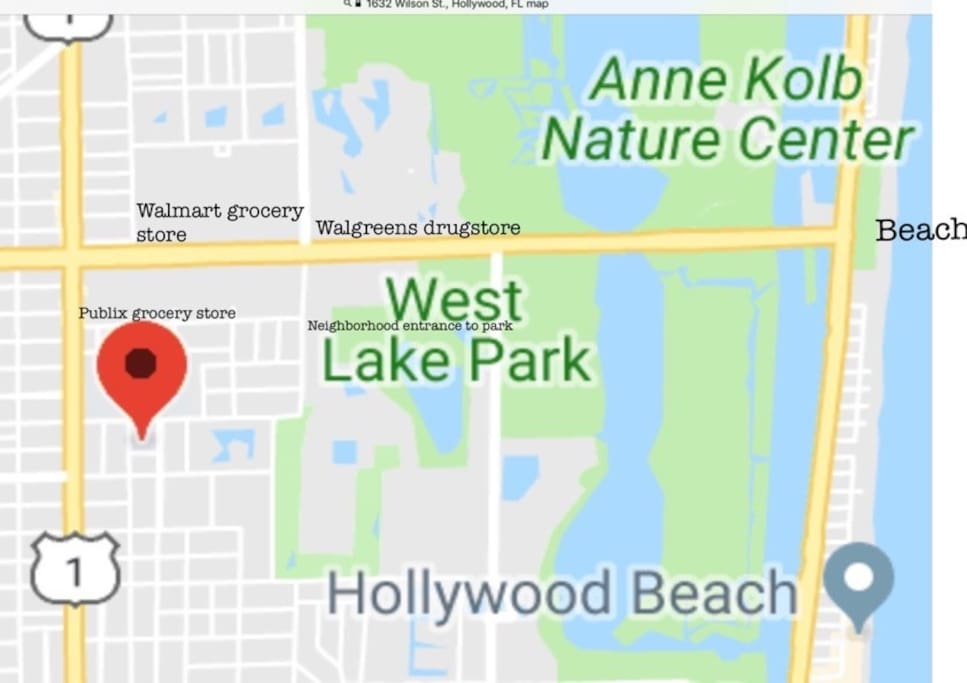 This is our location (Red balloon ) it shows you the walking directions to West Lake Park which has boating kayaking tennis courts picnicking. you can walk to the beach from there. From the house to the beach is about a mile and a half walk. We intersect with US one and Sheraton Road