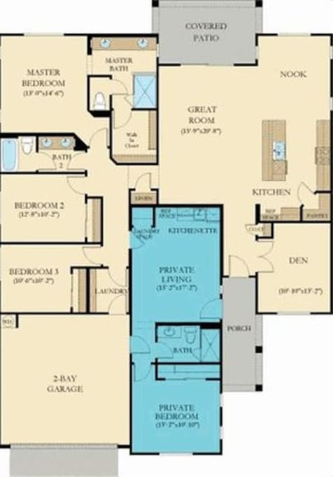 House layout. Private suite in blue