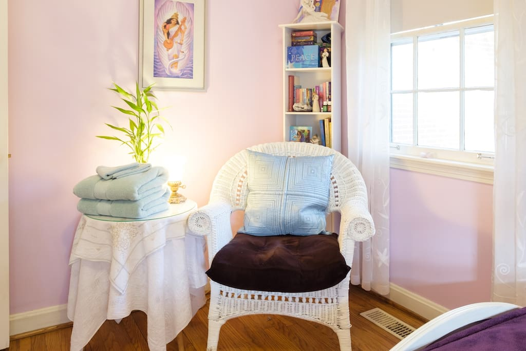 A cozy corner to read, muse and meditate