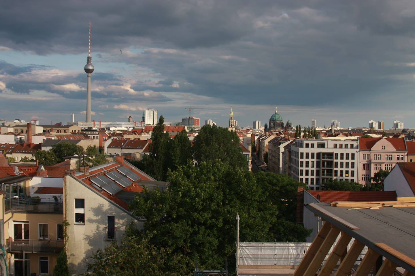 View from a nearby rooftop. Our place is just a view stops away from Alexanderplatz.