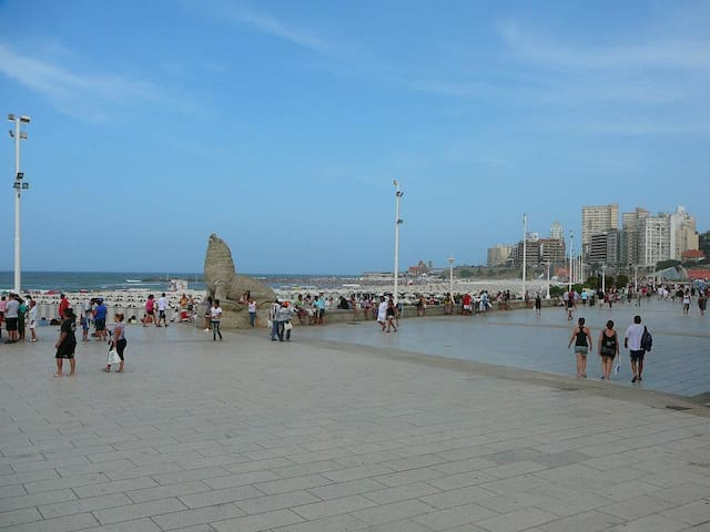 Just across Colón square, the seaside walk with the famous seawolf statues, and the beach.