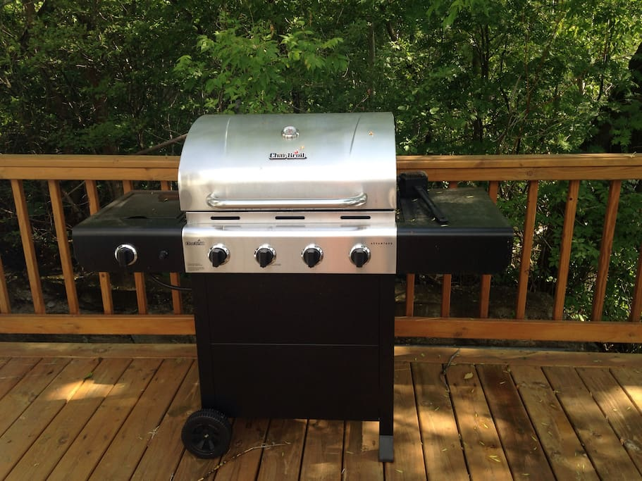 Propane grill available for use.