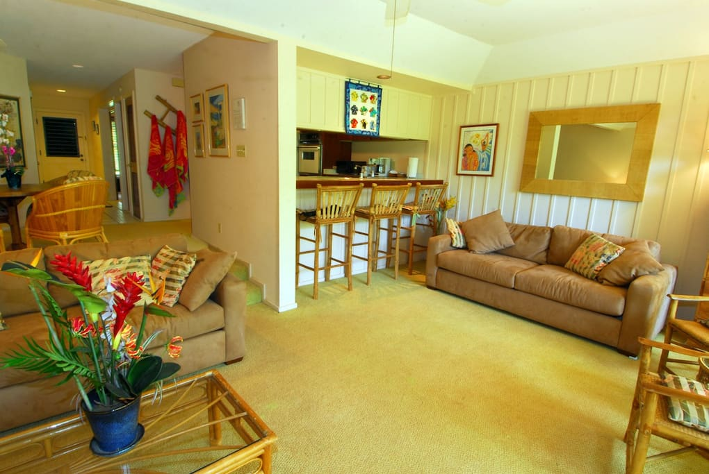 Spacious living room with two queen pull out couches
