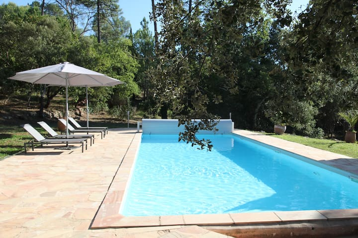 Pool area with 8 sun loungers, parasols, shower, shaded areas