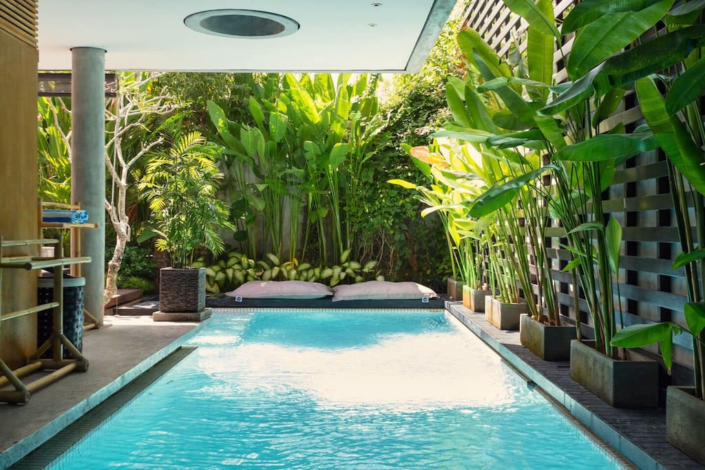 Large private salt water pool with floating bean bags, surrounded by tropical garden. The pool provides both sun and Shade to relax in