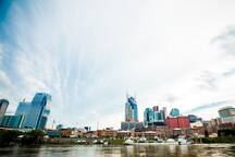 Located just 1-block from Broadway, our hostel has a beautiful view of the Cumberland River.