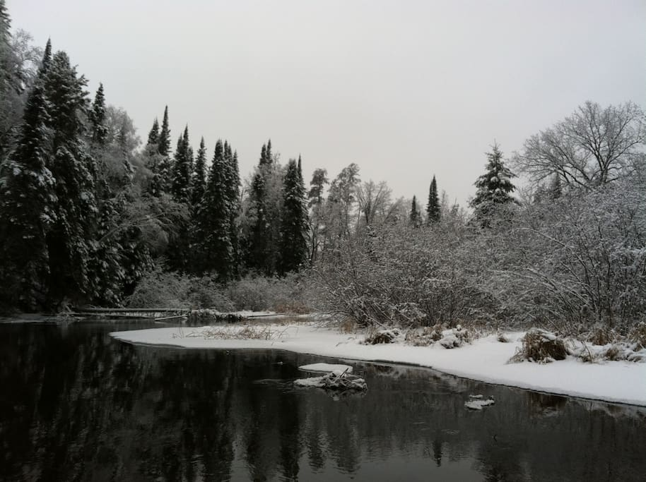 Winter scenery while canoeing the Crow Wing River.