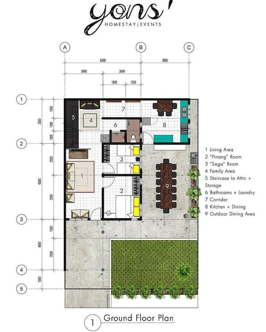 Ground Floor Plan of the Homestay.