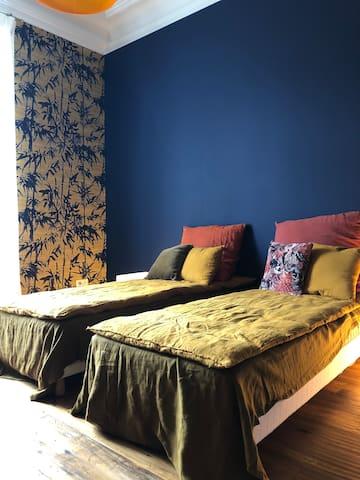 Chambre 18m2 avec 2 lits simples 80x200 à réunir ou pas