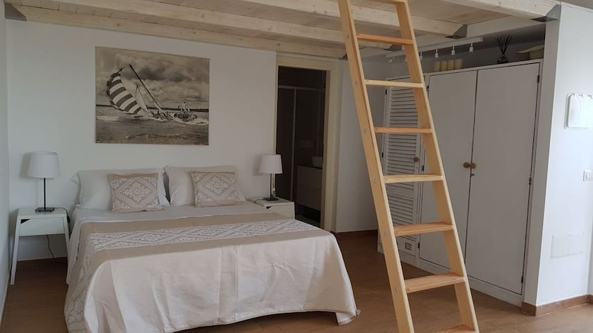 Modern White Studio Flat with mezzanine in Palau.