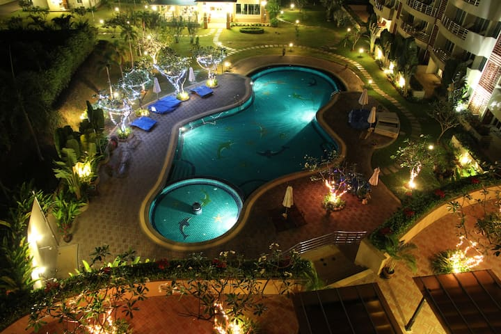 Luxurious Pool & Sea View Apartment.  Terrace overlooks the pool and beyond to the Gulf of Thailand.