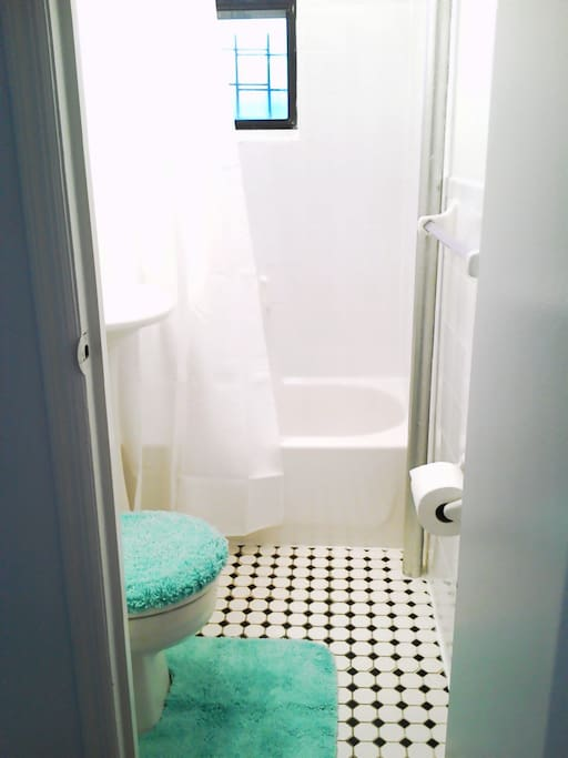 Clean sunny bathroom. Shower, hot tub, etc you will share with other two guests and a host.