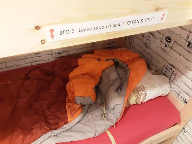 2- Dormitory / Dortoir 1 Bed  & 1 Sleeping Bag ON