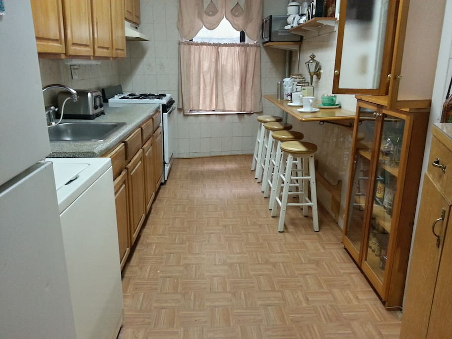 Big kitchen with everything you could possibly need. Free feel to stash food in the fridge.