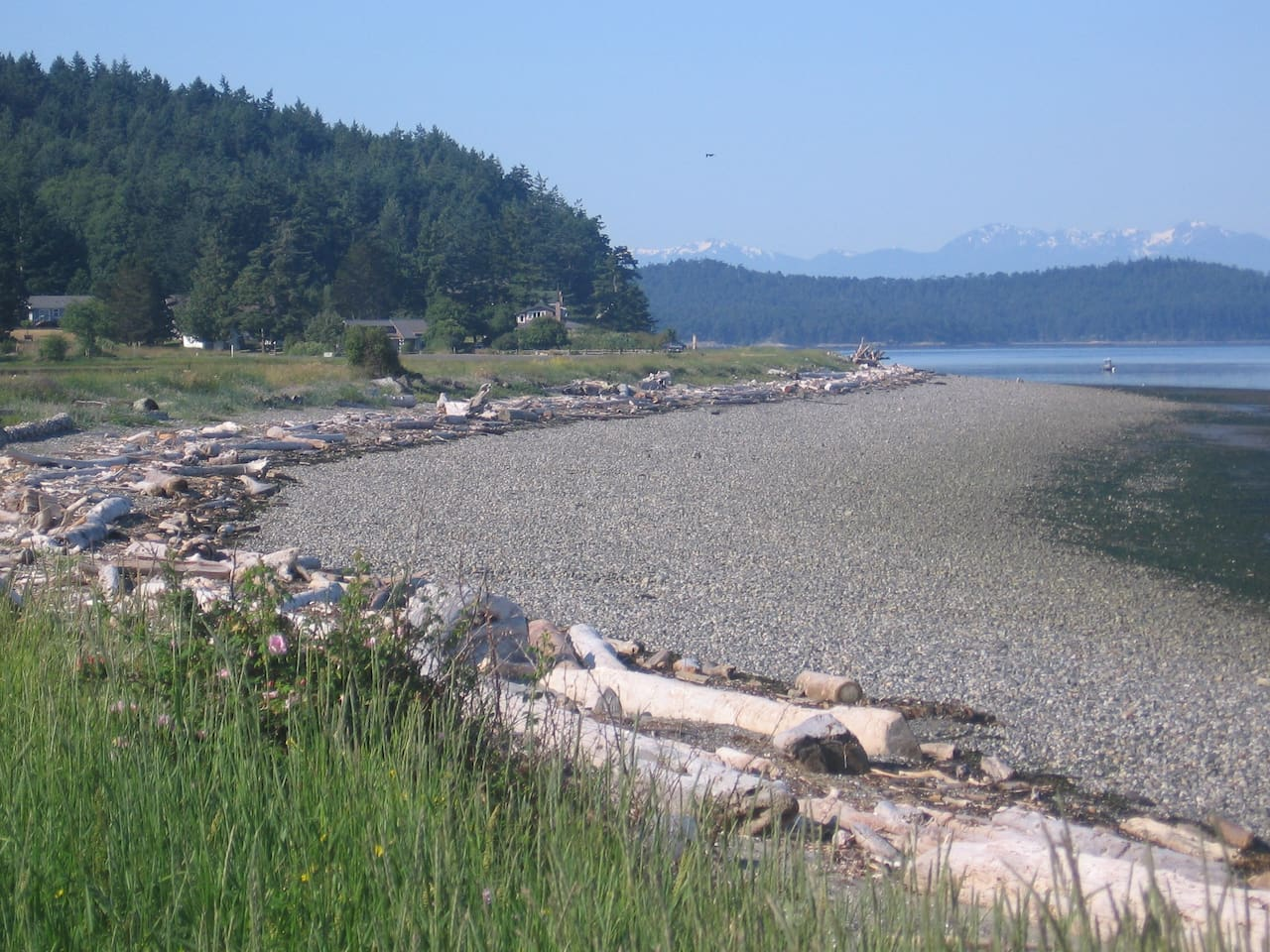 Beach near cottage - looking south to Olympic Mts