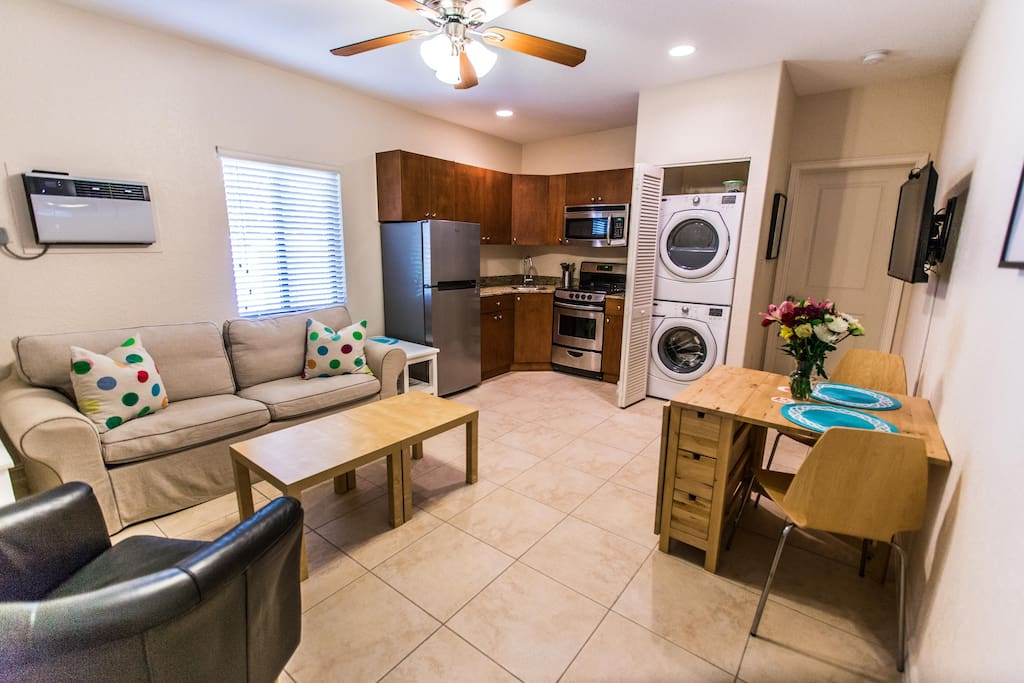 Suite has full kitchen and washer& dryer, table is expandable , sofa converts to a twin pull out