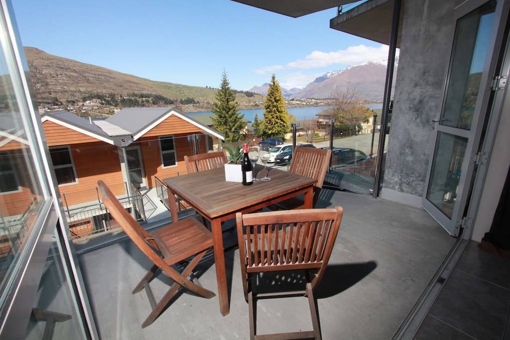 Beautiful views from the balcony out to Remarkables Mountain and Lake Wakatipu