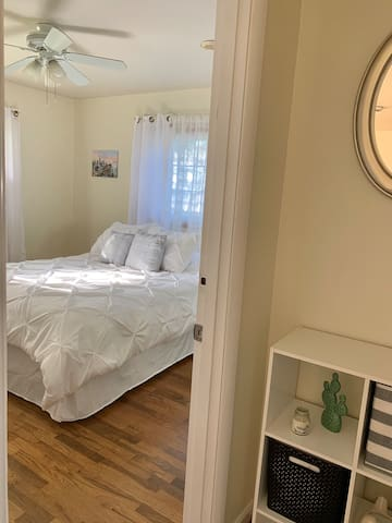 First bedroom you'll see on the left. Come home to a cozy bed after a long day of exploring!
