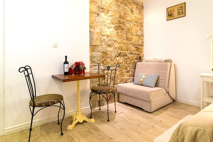 Authentic 1700 year old stone walls center
