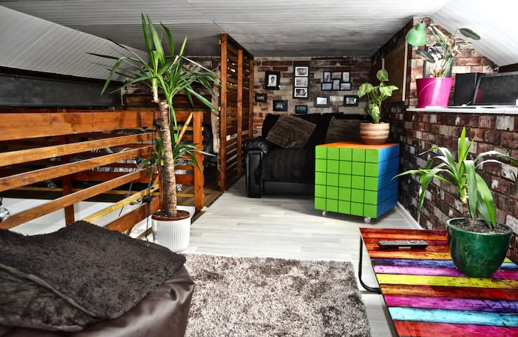Colourful and contemporary mezzanine lounge space