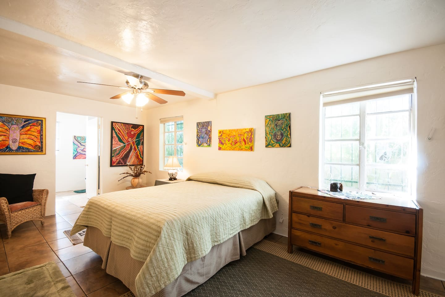 This is your wonderful room with a huge private bathroom and queen size new sealy posturpedic mattress.  It's a very large room, big enough for two queen size beds!