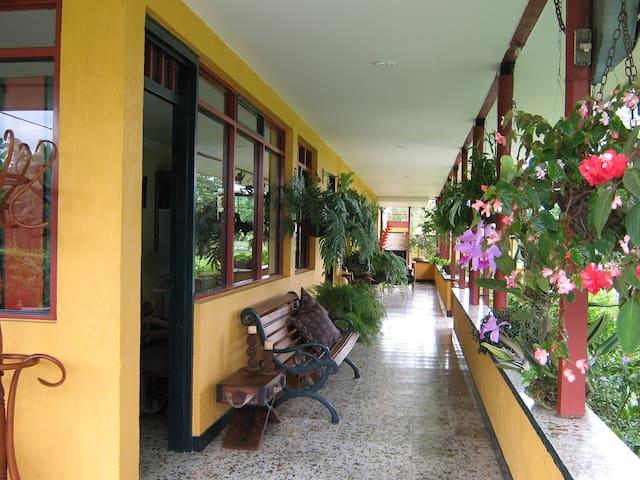 corredor principal con vista a la piscina