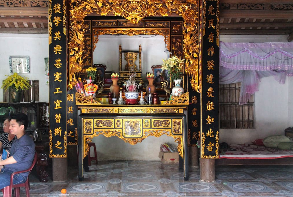 Some houses have ancient style with decorative altars. You will sleep in your own room.