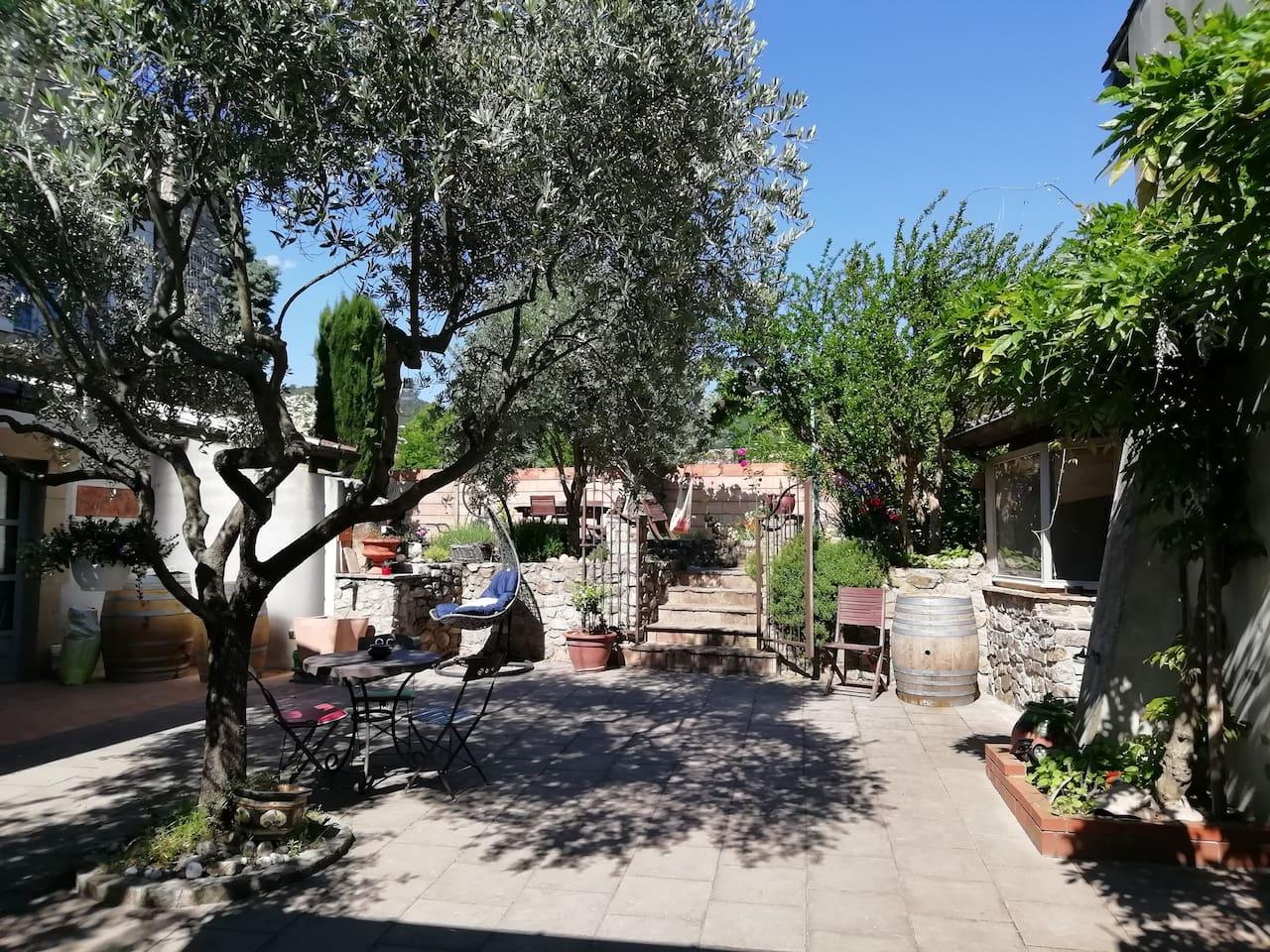 L'entrée ou vous pourrez vous détendre sous l'olivier