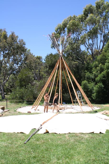 Building up the tipi