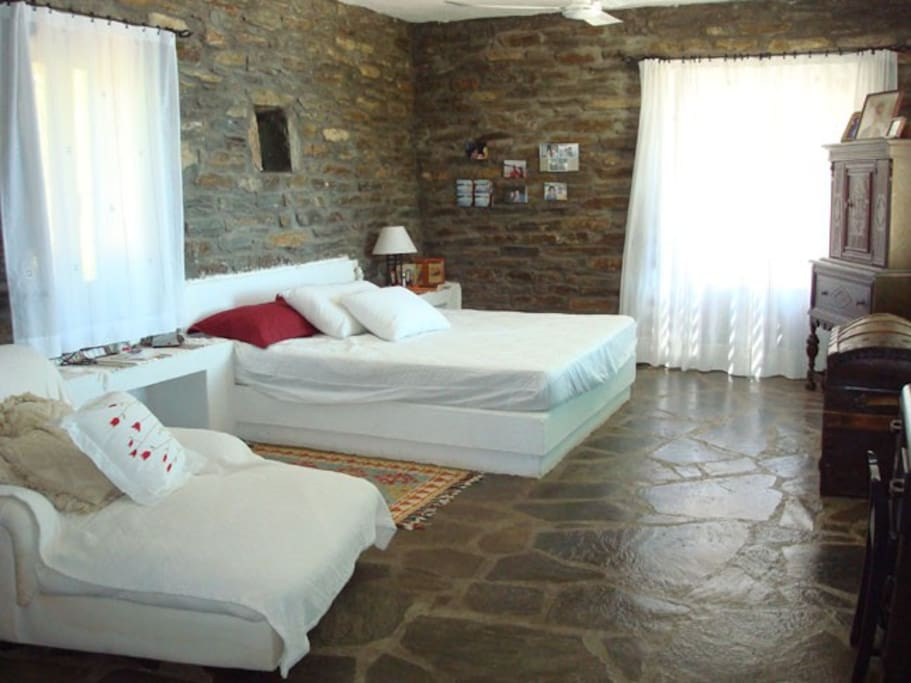 King size bed with private patio and bathroom