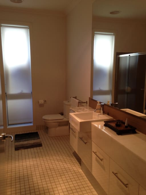 Full size bathroom with shower and bath, seperate and just for you