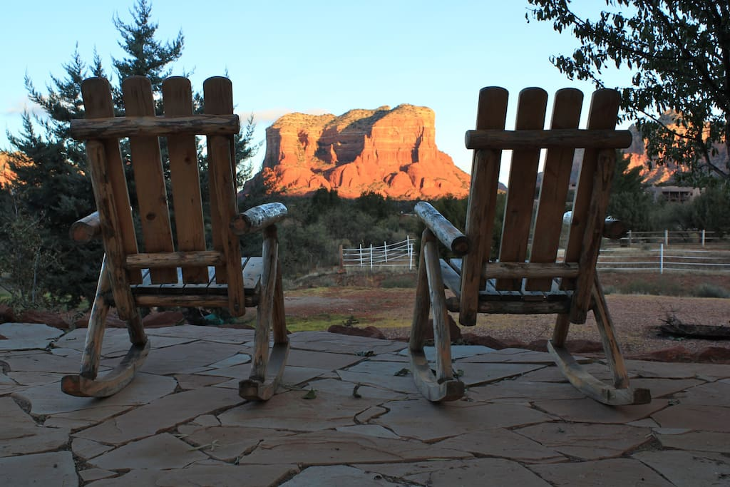 Casita View:  Red rock views from your pillow top and patio chairs.