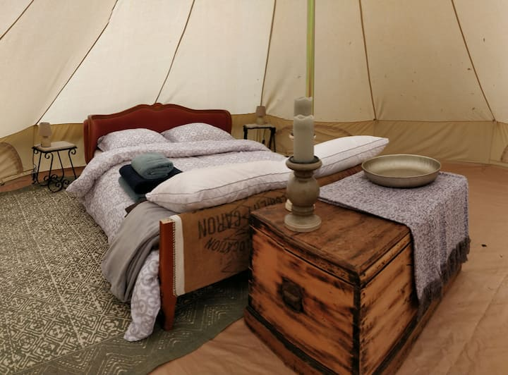 Tranquil glamping bell tent at La Fortinerie