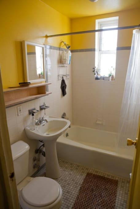 Cheery yellow bathroom with beautiful light. Great water pressure!