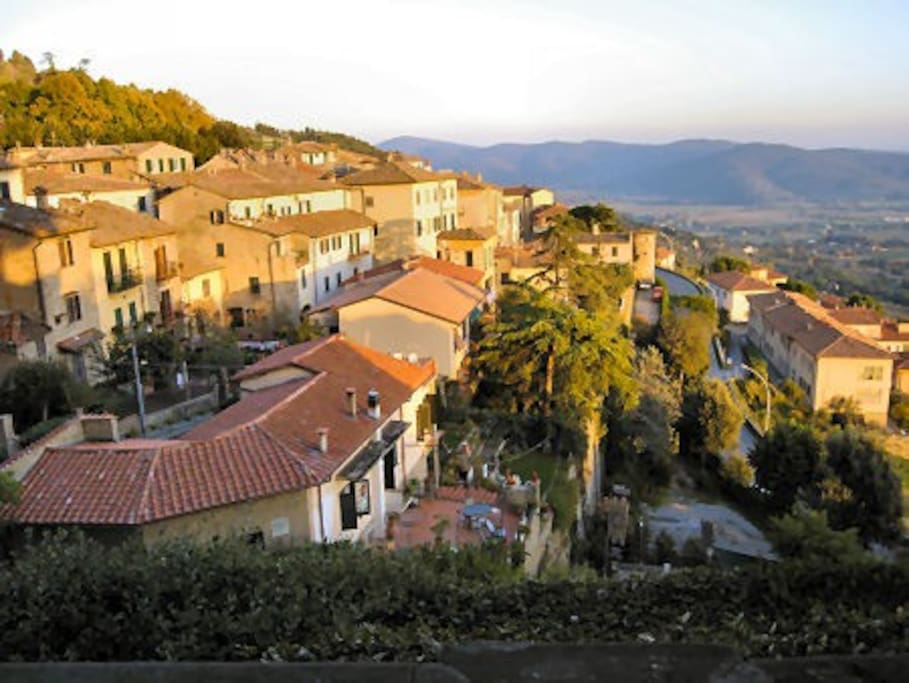 A view from the panoramic  terrace in Cortona hill town