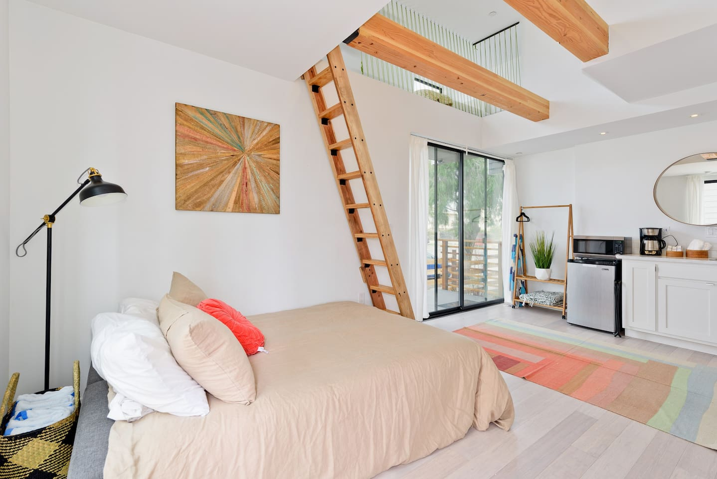 """""""A perfect little space, perfectly designed with everything you need, even coffee in the morning! The lofted beds are so cozy, and I love the paracord """"walls"""", very funky. Great location a quick walk to the beach and everything fun in Ocean Beach. Highly recommended!"""" -Fiona & Tommy from St. Louis, Feb. 2018"""