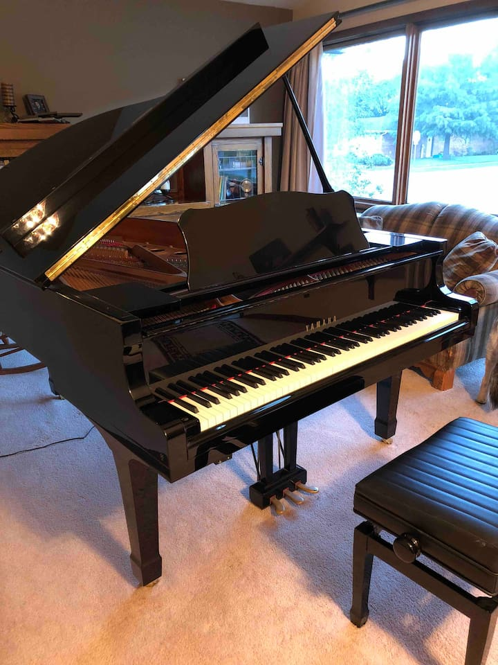 Guests are welcome to play this beautiful grand piano!