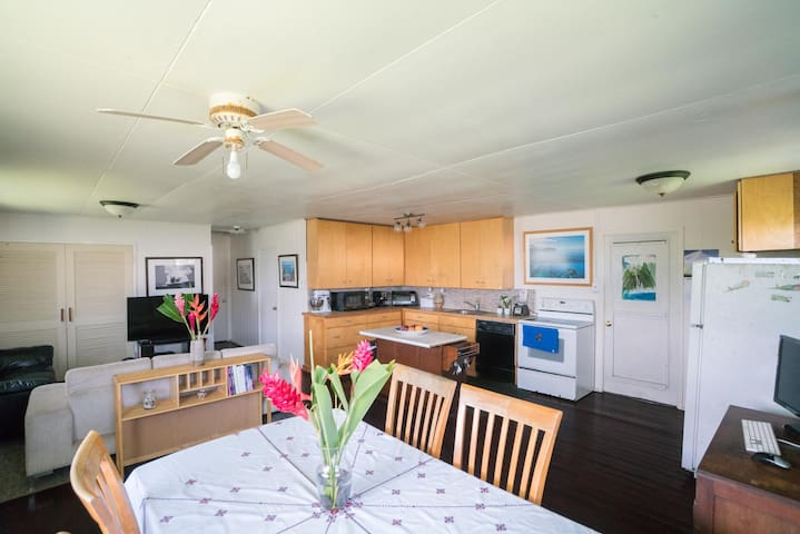 Great room with Kitchen, Living, and Dining area