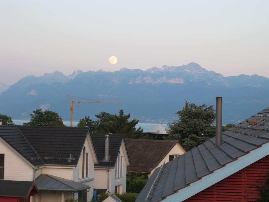 Room n° One - View from the balcony to Leman Lake & Alps