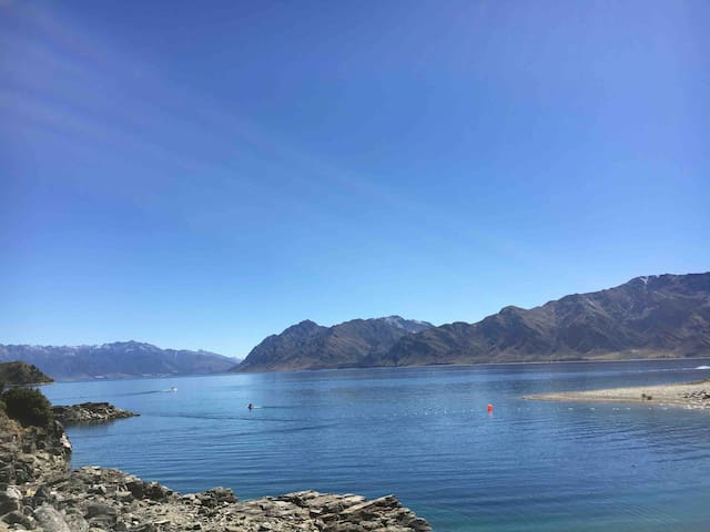 Lake Hawea is one of three lakes a short drive from the house. Simply stunning. Drive around it to the famous Blue Pools in Mt Aspiring National park. Not to be missed.
