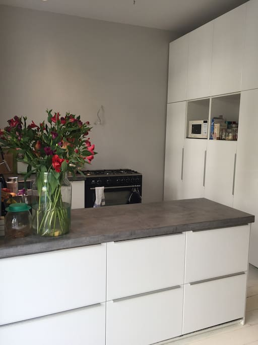 Kitchen with appliences  (microwave, big oven, dishwasher, coffee machine, freezer, refrigerator...)