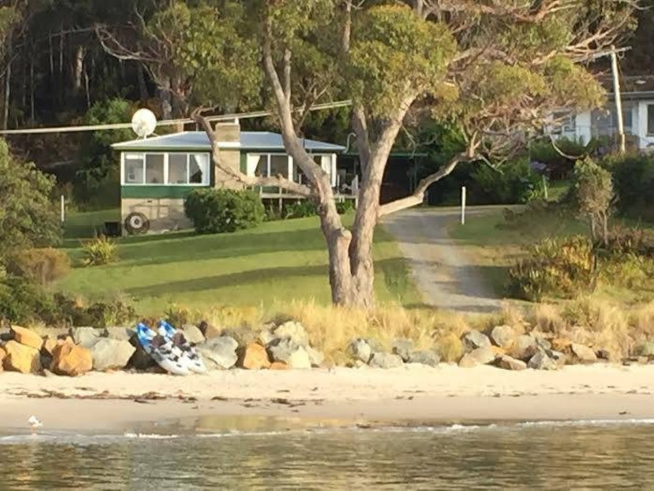 View of cottage from the beach in front