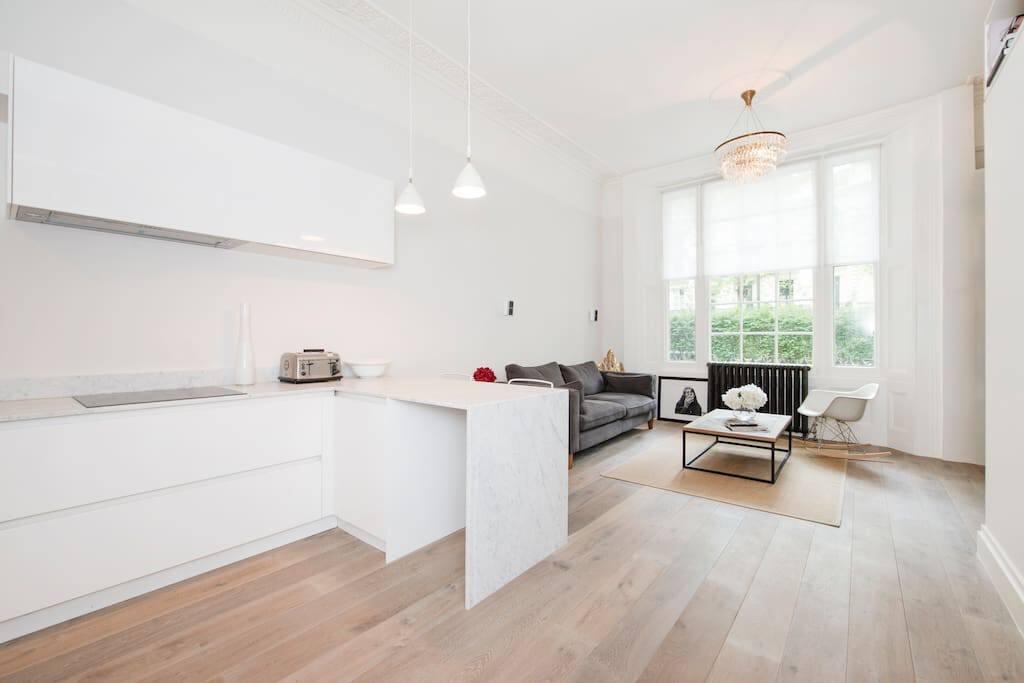 open plan kitchen sitting room