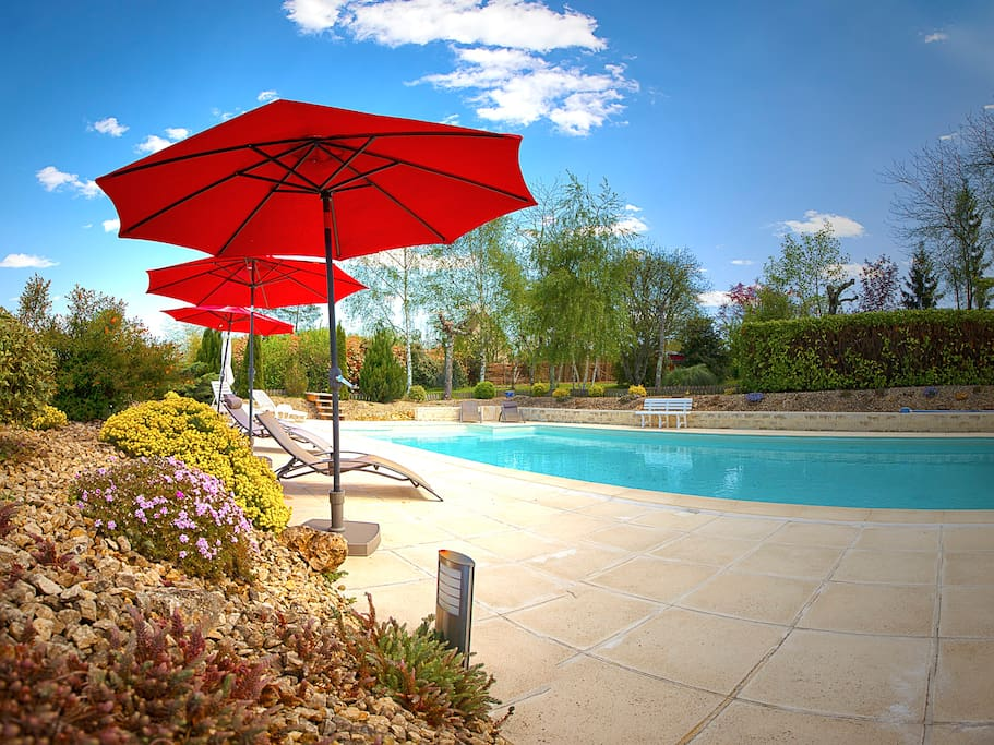 Beautiful heated salt water swimming pool.