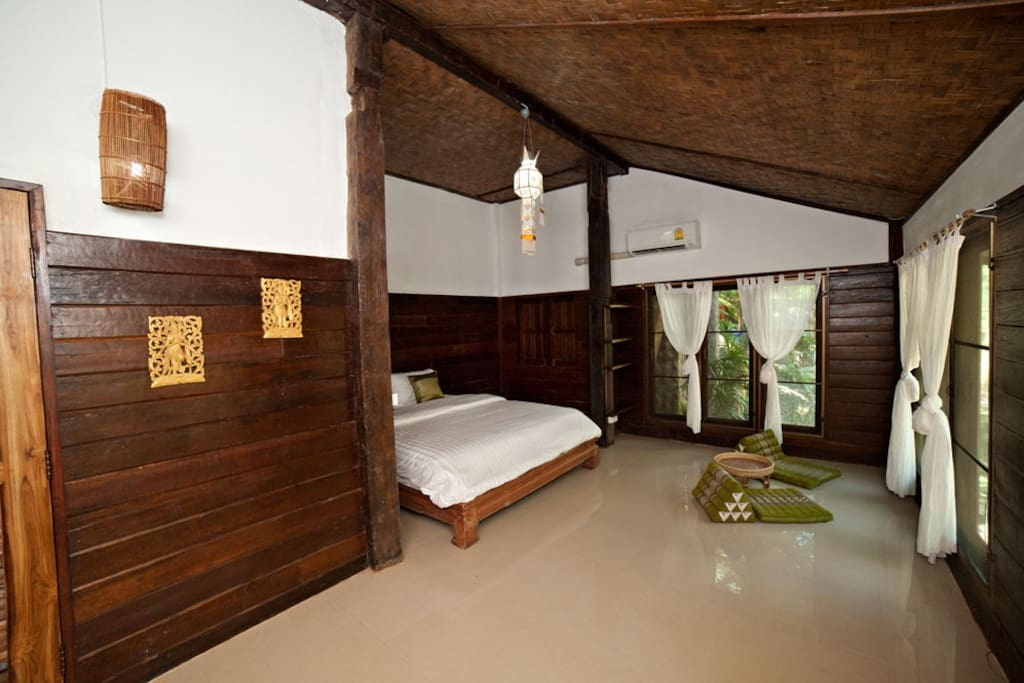 A large, comfortable room for your stay! You have a large bed with a mosquito net and fan for a comfortable night sleep.