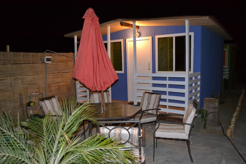The Blue cabana has ocean views, full private bath, a bunk bed and a double