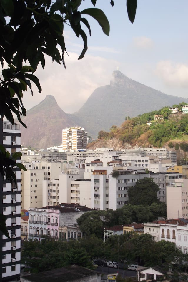 View of the city and the Cristo (Corcovado) in the background - from the veranda