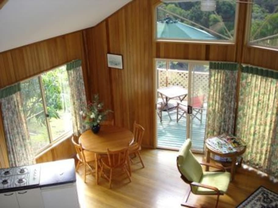 Looking down to the dining area from your loft bedroom