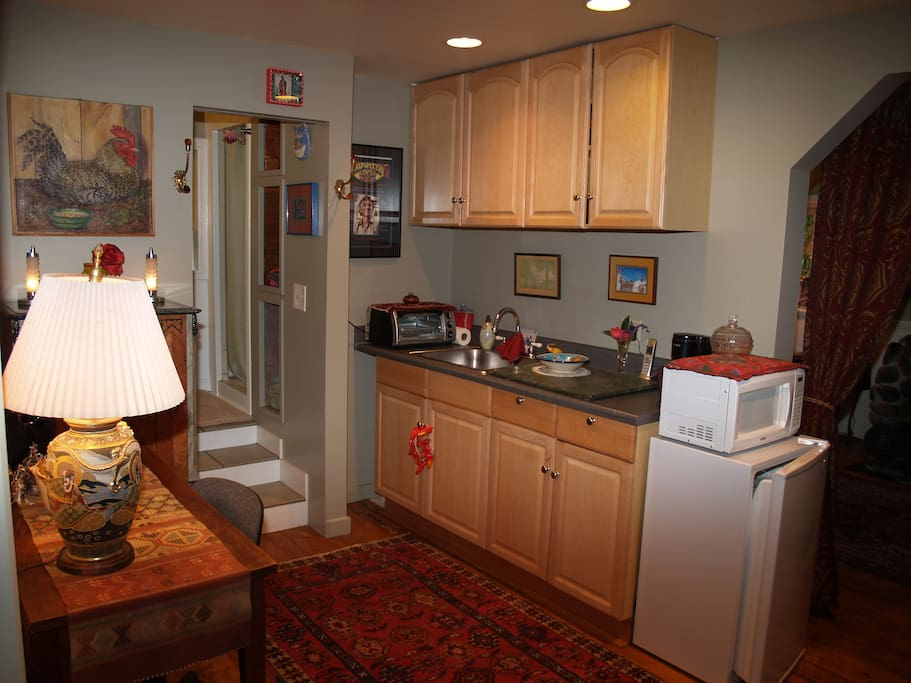 Complete cozy kitchen with new gas stove and oven