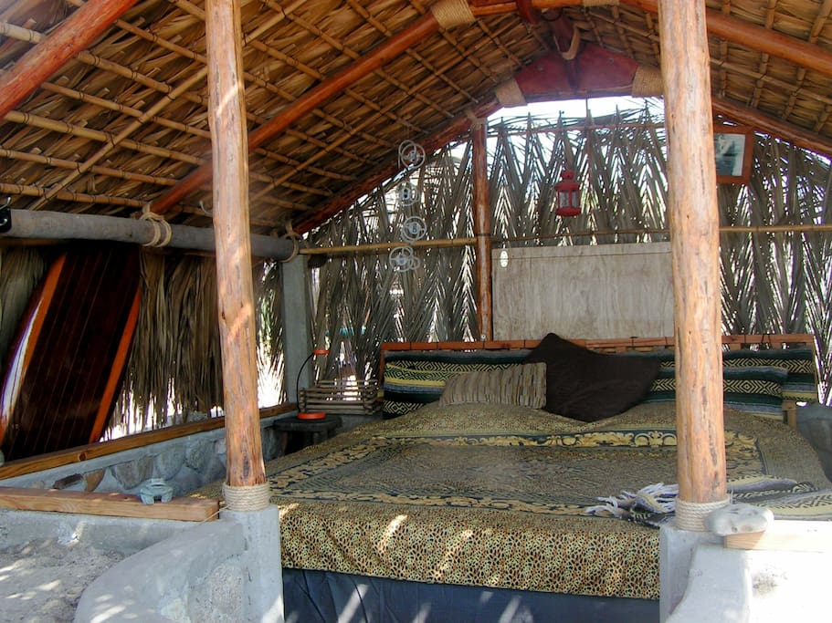 Inside view of casita with king-sized bed